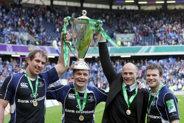 Rocky Elsom, Brian O'Driscoll, Felipe Contepomi and Gordon D'Arcy celebrate