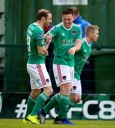 Karl Sheppard celebrates a goal with Dan Casey