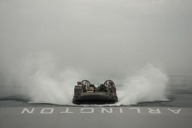 ARABIAN GULF: An LCAC approaches USS Arlington.