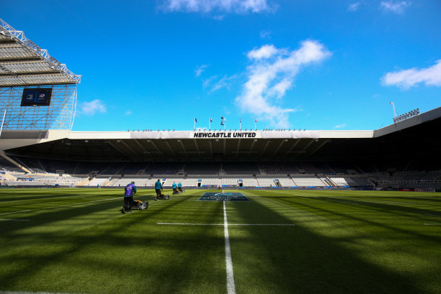 A general view of St James' Park as ground staff prepare the pitch ahead of today's game