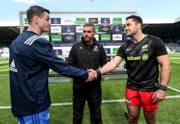 Johnny Sexton and Brad Barritt at the coin toss with Jerome Garces