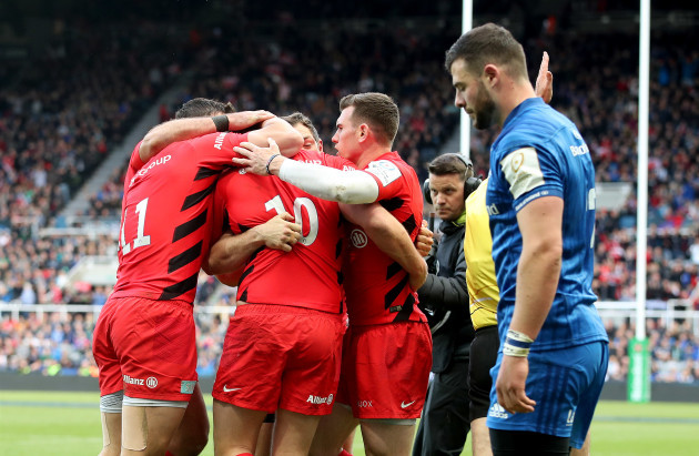Sean Maitland celebrates his try with teammates
