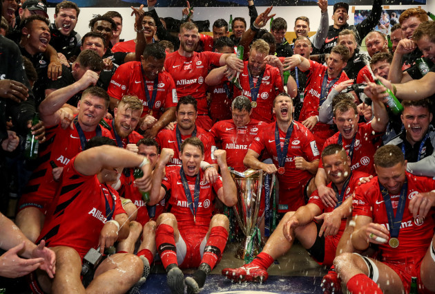 Saracens celebrate in the dressing room after the game