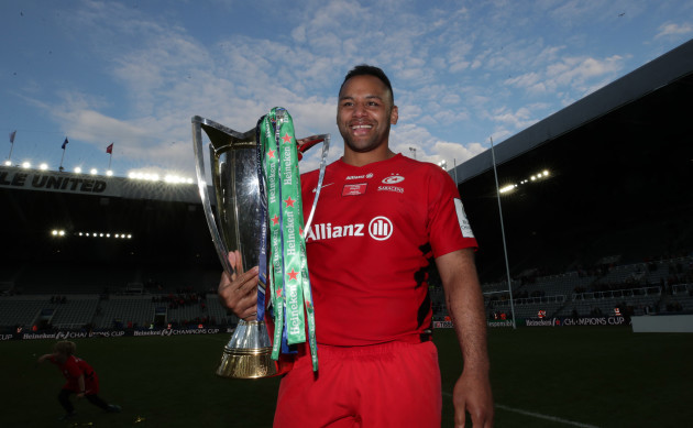 Billy Vunipola celebrates after the game