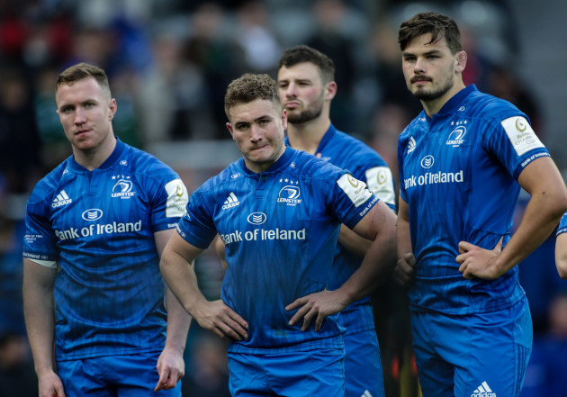 Rory O'Loughlin, Jordan Larmour and Max Deegan dejected after the game