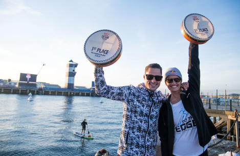 The winners Constantin Popovici and Rhiannan Iffland celebrate