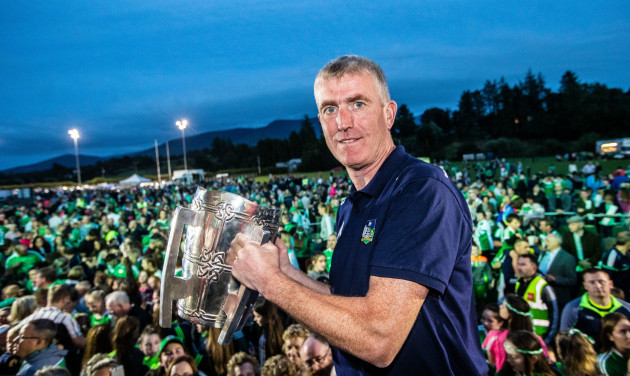 John Kiely brings the Liam McCarthy cup back to his home town of Galbally