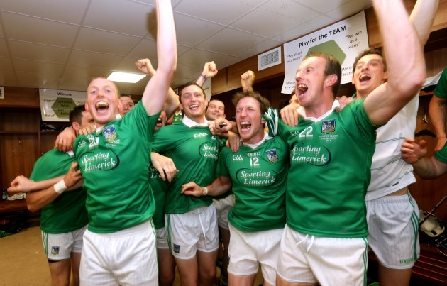 Limerick players celebrate in the dressing room