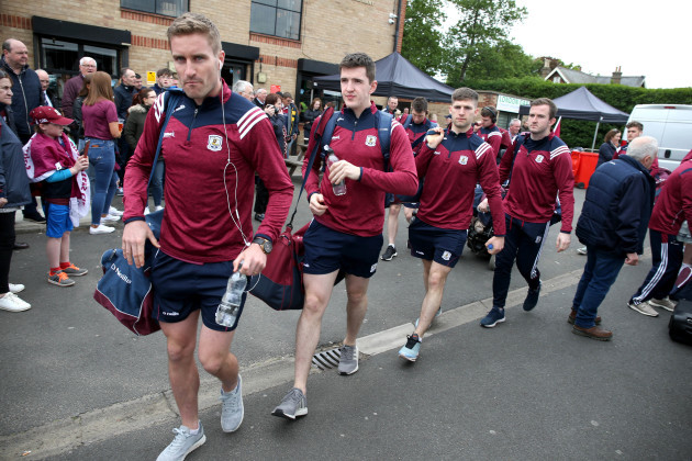 Gary O'Donnell and the Galway team arrive at McGovern Park