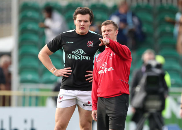 Dwayne Peel with Jacob Stockdale during the warm-up