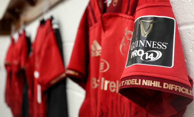 A general view a Guinness PRO14 badge on a Munster jersey