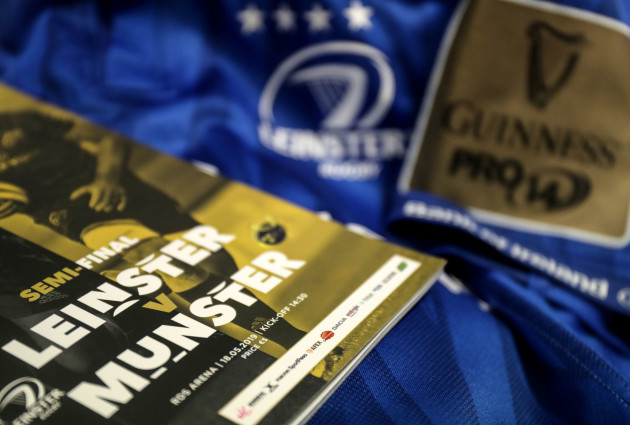 A general view a match day programme and Leinster jersey