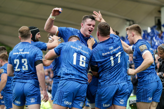James Lowe celebrates his try with James Ryan, Andrew Porter, Ed Byrne and Garry Ringrose