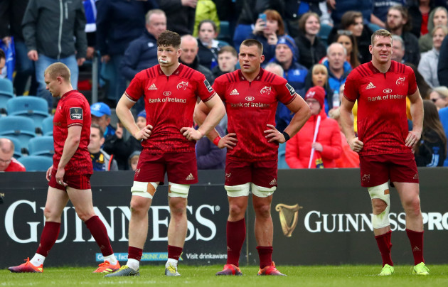 Keith Earls, Jack O'Donoghue, CJ Stander and Chris Farrell dejected at the final whistle