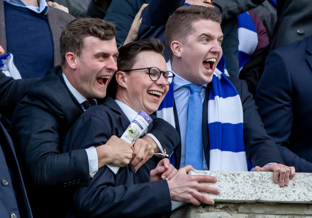 Joseph O'Brien gets caught up in the celebrations as members of the Blackrock Racing Syndicate celebrate winning with Arthurian Flame