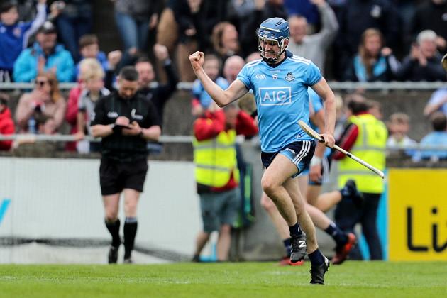 Sean Moran celebrates scoring a goal
