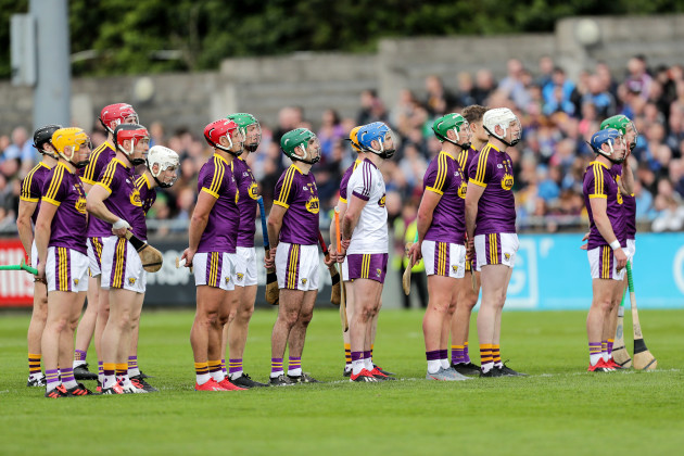 The Wexford team stand for the National Anthem