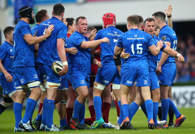 Leinster players celebrate winning a penalty
