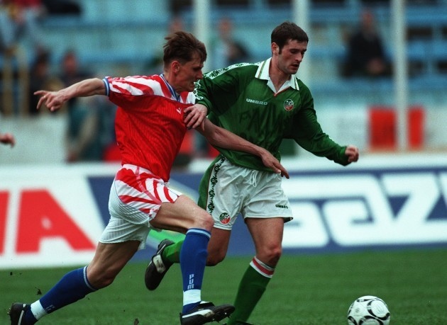 Alan Moore Lubos Kubik Republic of Ireland V Czech Republic 24/4/1996
