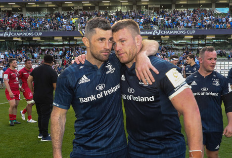 Rob Kearney and Sean O'Brien celebrate after the game