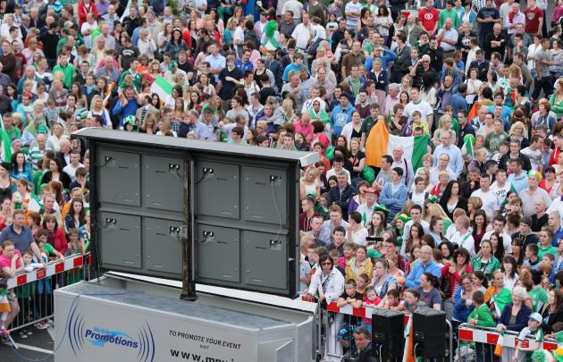 Supporters in Mullingar watch John Joe Nevin's final on the big screen