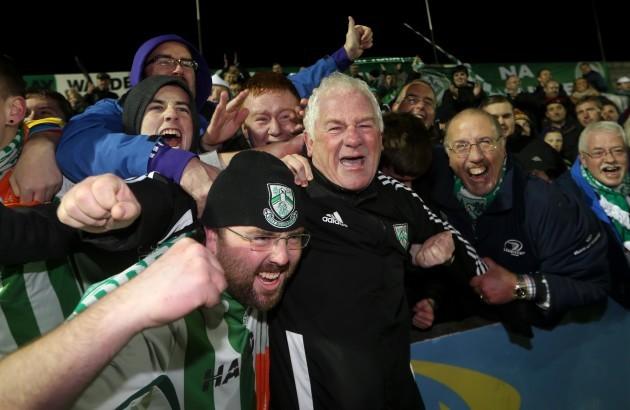 Pat Devlin celebrates with fans