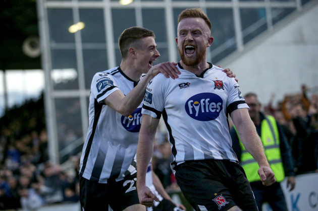 Sean Hoare celebrates scoring a goal with Daniel Kelly