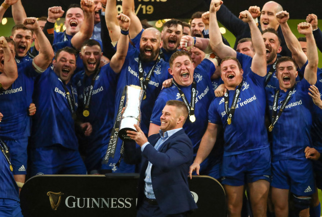Sean O'Brien celebrates with teammates after winning the Guinness PRO14 Final