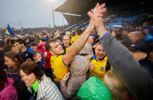 Ultan Harney celebrates with fans