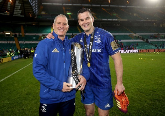 Stuart Lancaster and Johnny Sexton celebrate after winning the Guinness PRO14 Final