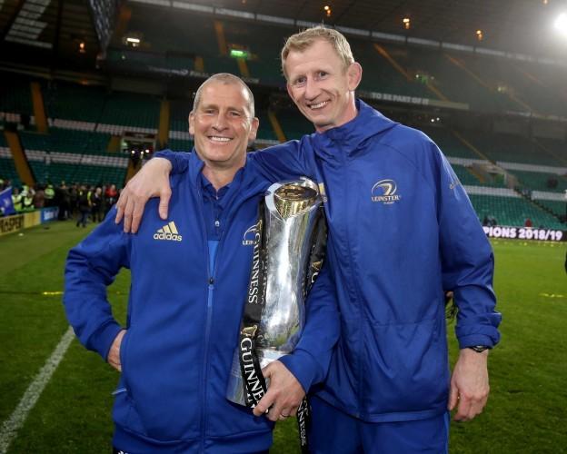 Stuart Lancaster and Leo Cullen celebrate after winning the Guinness PRO14 Final