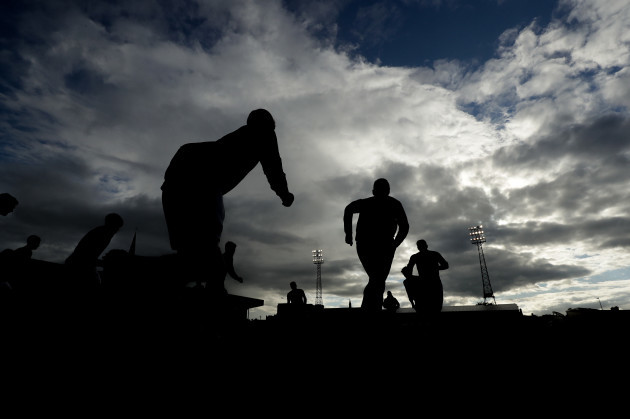 A view of Cork City players during the warm-up