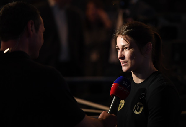 Katie Taylor is interviewed by Sky Sports