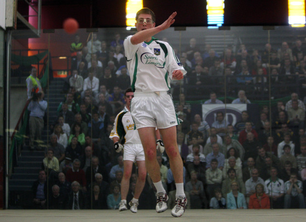 Seamus O'Carroll in action against Gary McConnell