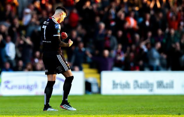 Daniel Mandroiu celebrates scoring a goal
