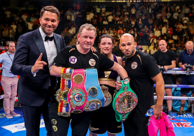 Eddie Hearn, Brian Peters, Katie Taylor and Ross Enamait  celebrate after the fight
