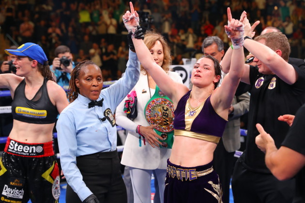 Katie Taylor is announced as the winner