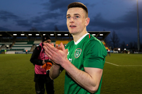 Darragh Leahy celebrates after the game