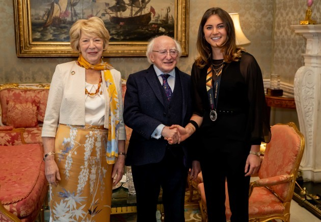 President Michael D. Higgins and Sabina Coyne with Deirdre Duke