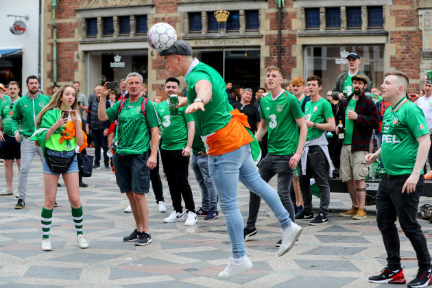 Ireland fans enjoy a game of heads and volleys