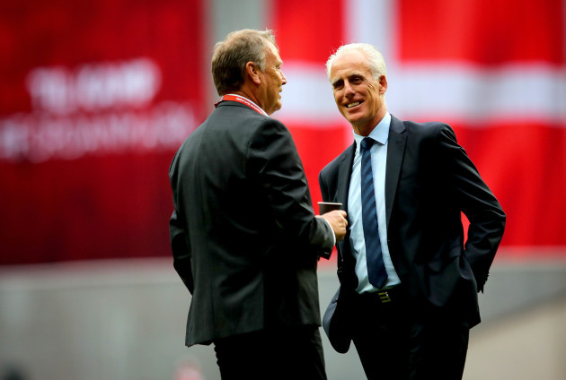 Mick McCarthy with Age Hareide before the game