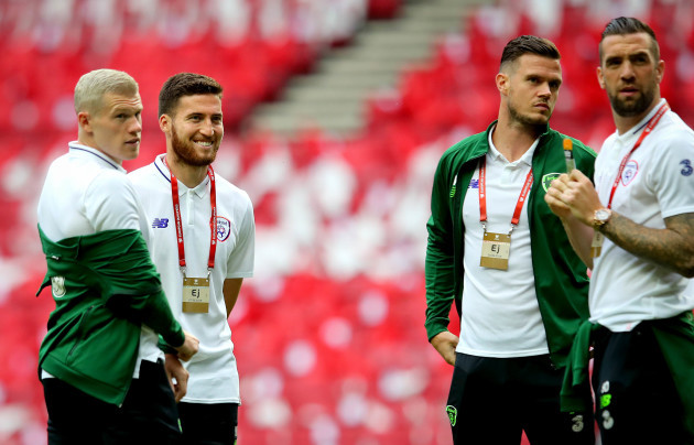 James McClean, Matt Doherty, Kevin Long and Shane Duffy before the game