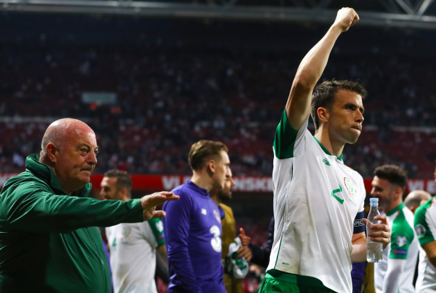 Seamus Coleman celebrates after the game