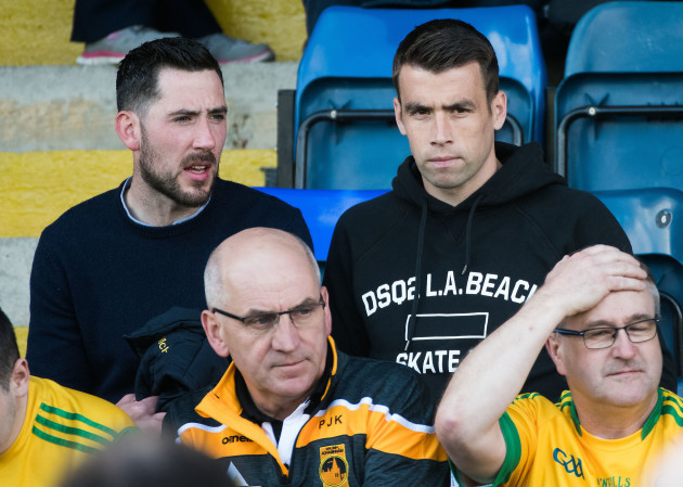 Seamus Coleman and Mark McHugh at the game