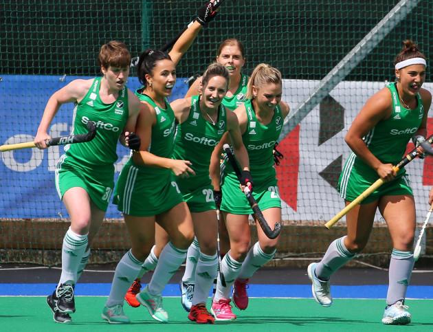 Ireland celebrate scoring a goal