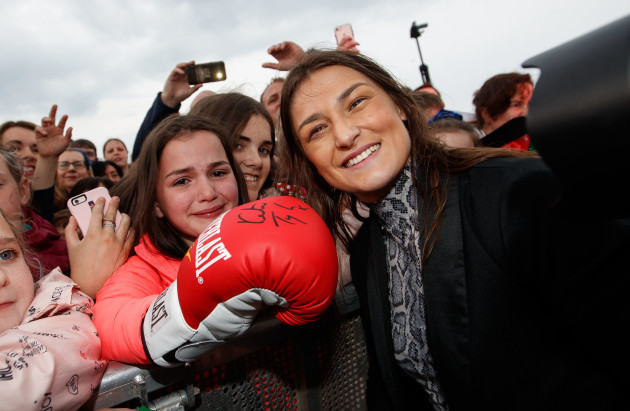 Katie Taylor with Katie O'Toole from Tallaght