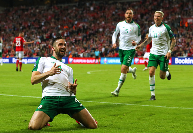 Shane Duffy celebrates scoring their first goal