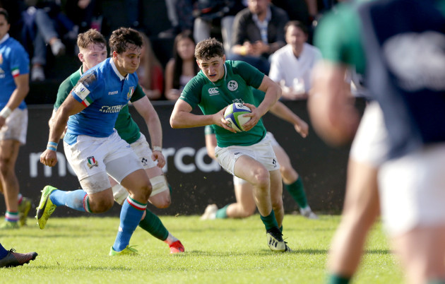 Cormac Foley tackled by Paolo Garbisi