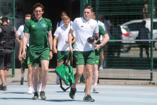 Keith Andrews and Conor Coventry arrive