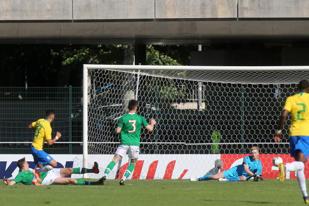 Paulinho scores their first goal past Caoimhin Kelleher